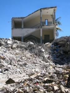 A collapsed building in Haiti following the Jan. 2010 earthquake.