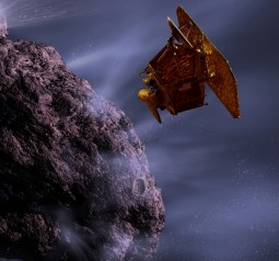 Artist's rendering of the Deep Impact spacecraft encountering a comet