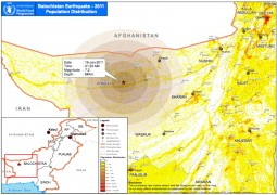 Epicenter and population map for the Jan. 18th, 2011 earthquake in Pakistan.