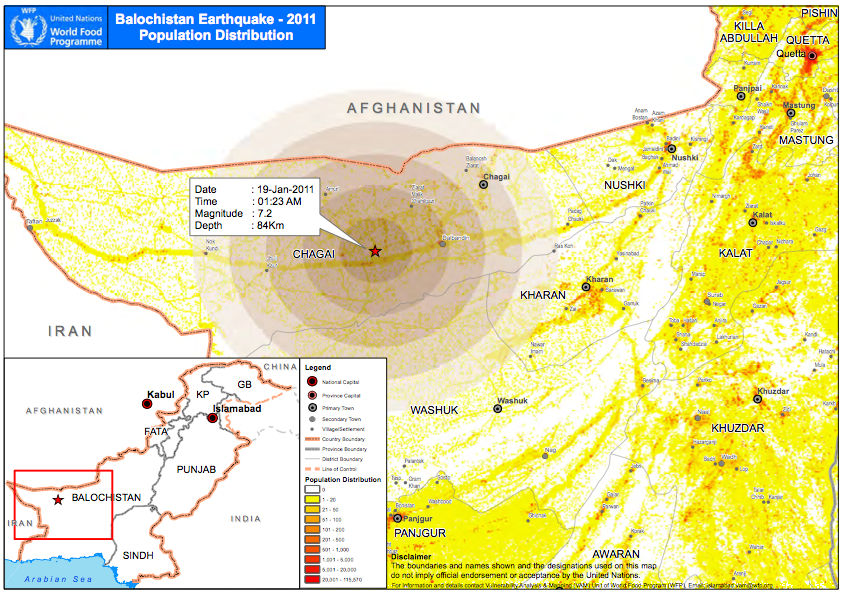 Earthquake rocks pakistan how on earth epicenter and population map for the jan 18th 2011 earthquake in pakistan gumiabroncs Choice Image