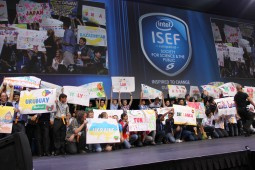 Students celebrate their countries of origin at the Intel International Science and Engineering Fair. Credit: Intel Brasil (CC BY-NC 2.0)