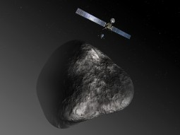 Artist's impression of the Rosetta orbiter deploying the Philae lander to comet 67P/Churyumov–Gerasimenko. Credit: ESA–C. Carreau/ATG medialab