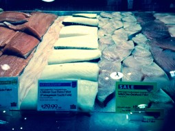 "MSC-certified ""Chilean sea bass"" filets and other fish displayed at a Whole Foods market in Boulder, Colo.  Photo courtesy Susan Moran"
