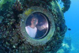 Fabien Cousteau in the Aquarius underwater lab. Photo courtesy Kip Evans.