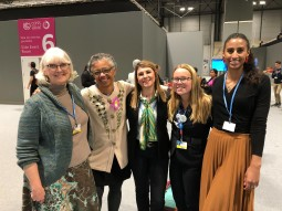 At COP25, Tashiana Osborne (far right), Sarah Whipple (2nd from right), CSU Prof. Gillian Bowser (2nd from left) and colleagues. Photo credit: Adewale Adesanya