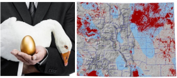 Left: Image courtesy of EcoNation, NZ. Right: Map of active oil and natural gas wells in Colorado.